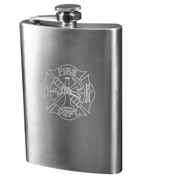 Fire Department Engraved Flask