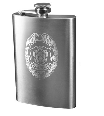 Police Engraved Flask