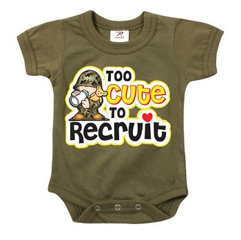 Infant Olive Drab Too Cute To Recuit Onesie - One Piece Pajama