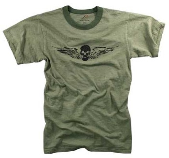 Vintage Army Green Skull and Wings T-shirt