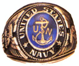 Navy Deluxe Engraved Ring