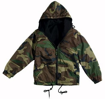 Reversible Woodland Camo Hooded Jacket