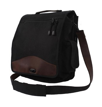Black and Leather Vintage Canvas M-51 Engineer Bag