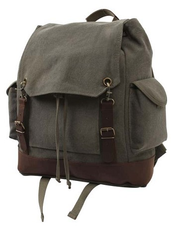 Vintage Olive Drab Canvas Expedition Backpack with Leather Accents
