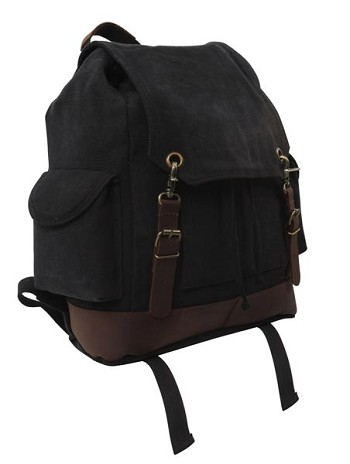 Vintage Black Canvas Expedition Backpack with Leather Accents