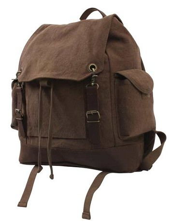 Vintage Brown Canvas Expedition Backpack with Leather Accents