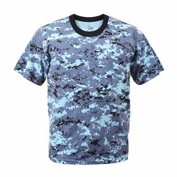 Sky Blue Digital Camo Military T-Shirt