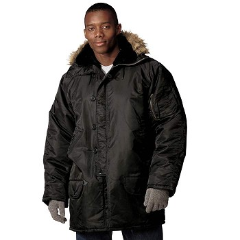 Black Military N3B Style Cold Weather Winter Parka