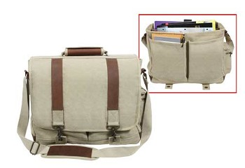 Leather and Canvas Pathfinder Laptop Bag