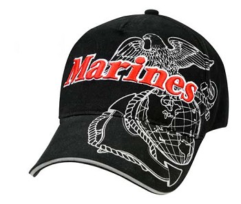 Black and White Marine Globe and Anchor Baseball Cap