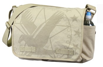 Vintage Khaki Subdued Army Eagle and Star Messenger Bag