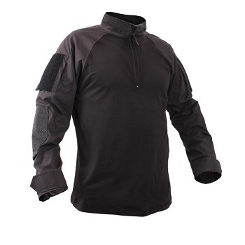 Military Quarter Zip Black Combat Shirt