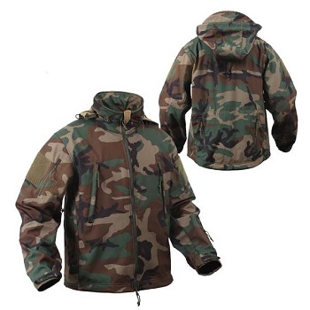 Special Ops Woodland Camo Soft Shell Tactical Jacket