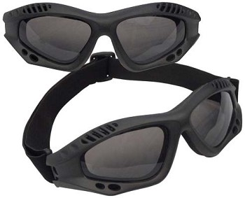 Padded Frame Black Tactical Goggles