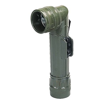 Military D-Cell Angle Head Flashlight - Olive Drab