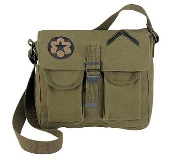 Olive Drab Shoulder Ammo Bag with Military Patches