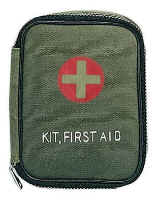 Small Olive Drab Military First Aid Kit