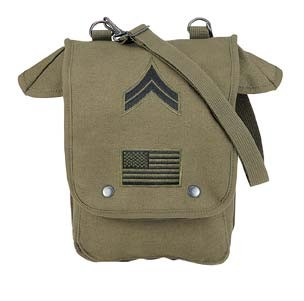 Vintage Army Tote Bag with Patches- Olive Drab