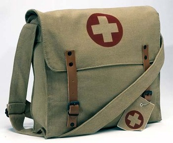 Vintage Army Medic Messenger Bag with Medic Cross