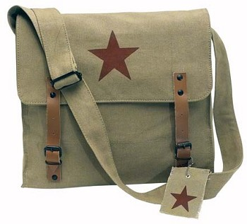 Vintage Army Medic Tote Bag with Brown Star