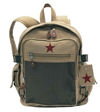 Military Style Khaki Red Star Vintage Backpack