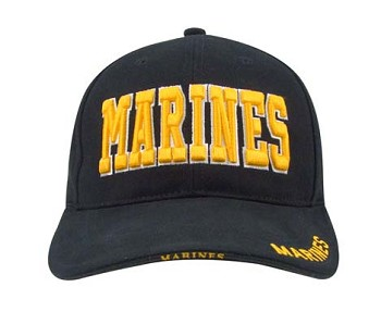 Black and Gold  Marine Baseball Hat