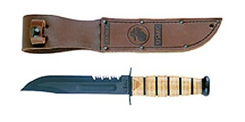 Genuine Ka-Bar USMC Combo Edge Fighting Knife