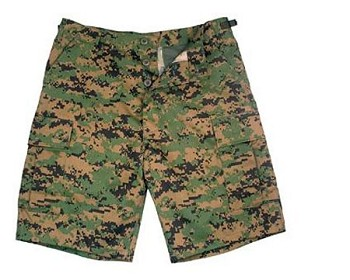 Woodland Digital Camo Military BDU Cargo Shorts