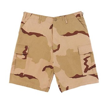 Tri-Color Desert Camo Military BDU Cargo Shorts