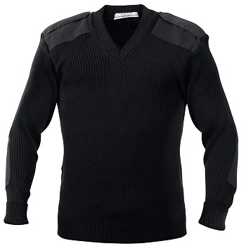Black Acrylic V-neck Military Police Sweater