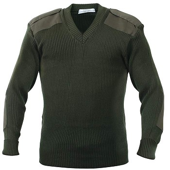 Olive Green Acrylic V-neck Military Style Sweater