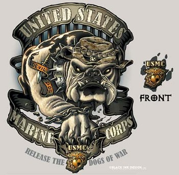 Black Ink USMC Tan Bulldog T-shirt