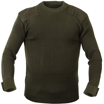 Olive Green Wool Military Style Commando Sweater