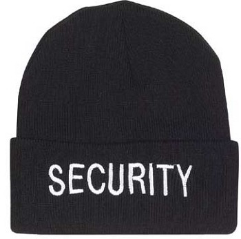 Black Security Embroidered Watch Cap