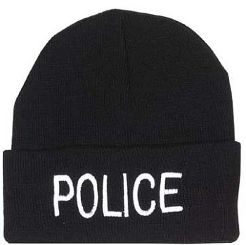 Black Police Embroidered Watch Cap