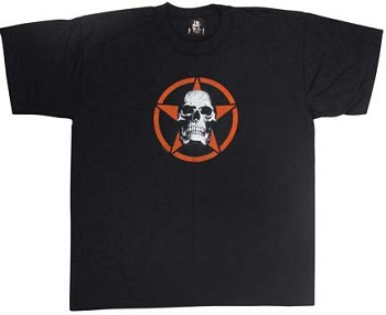 Kids Black Skull and Red Star T-shirt