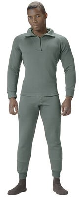 Military Heavyweight Thermal Underwear Shirt - Foliage Zip Top