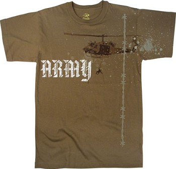 Vintage Brown Army Helicopter T-Shirt