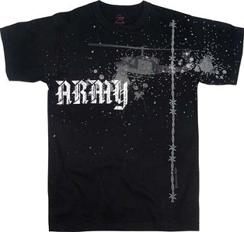 Vintage Black Army Helicopter T-Shirt