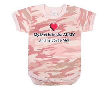 Infant Pink Camo 'My Dad's in the Army' One Piece Baby Onesie