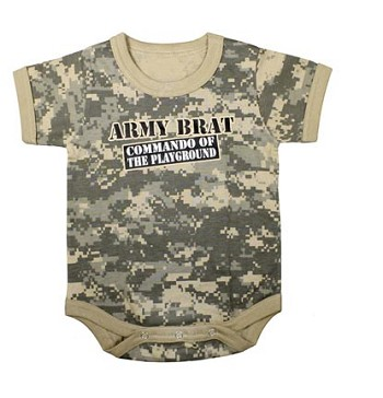 Infant Army Digital Camo 'Commando of the Playground' One Piece Bodysuit