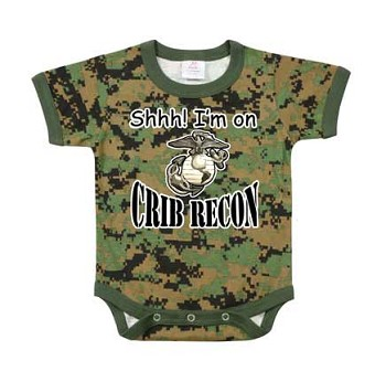 Infant Woodland Digital Camo 'Crib Recon' One Piece Bodysuit