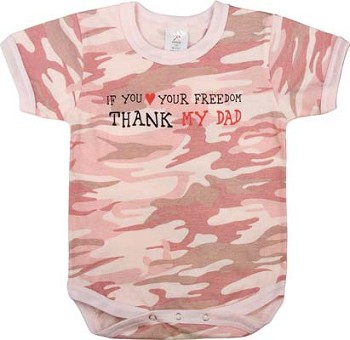 Infant Baby Pink Camo 'Thank my Dad' One Piece Baby Onesie