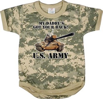 Infant Army Digital Camo 'Got your Back' One Piece Bodysuit