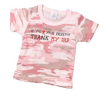 Kids Pink Camo Shirt - Love your Freedom Thank My Dad