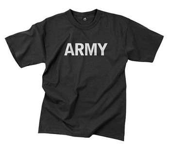 Black Reflective Army Physical Training T-Shirt