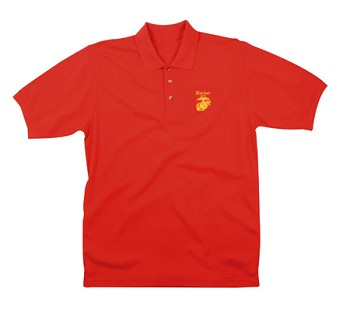 Red Marines Globe and Anchor Embroidered Polo Shirt