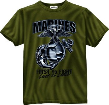 Olive Drab Marines Globe and Anchor First To Fight T-Shirt