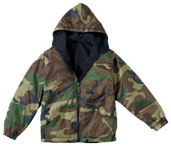 Kids Woodland Camo Reversible Fleece Lined Nylon Jacket with Hood