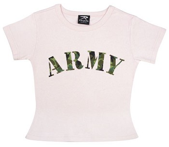 Pink Girls Army T-shirt with Camo Lettering